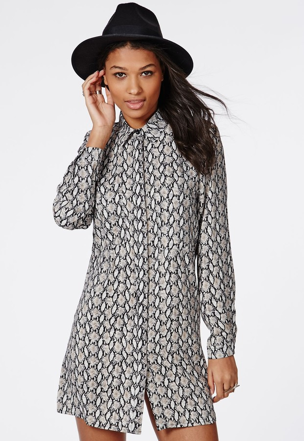431ee8b286b ... Missguided Oversized Shirt Dress Grey Snake Print ...