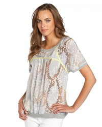 Grey chiffon python printed neon trim blouse medium 117347