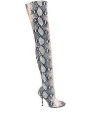 Stuart Weitzman Snake Print Over The Knee Boots