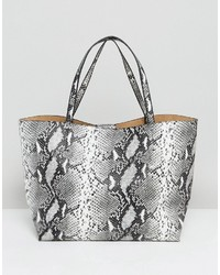 Glamorous Tote Bag In Gray Faux Snake