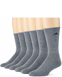 adidas 6 Pk Athletic Cushioned Crew Socks Extended Sizes