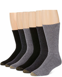 Gold Toe 6 Pk Harrington Casual Crew Socks Extended Size