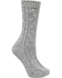Cable knit cashmere socks gray medium 5261120
