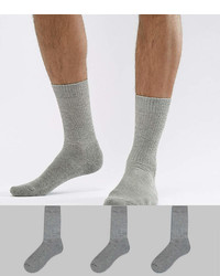 Asos Design Tube Style Socks In Gray Marl 3 Pack