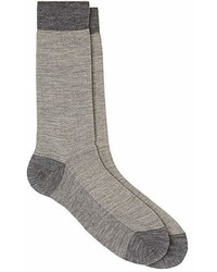 Barneys New York Fine Striped Wool Mid Calf Socks