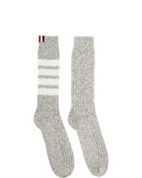 Thom Browne Grey Chunky Rib 4 Bar Mid Calf Socks
