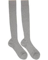 Brunello Cucinelli Grey Cotton Long Socks