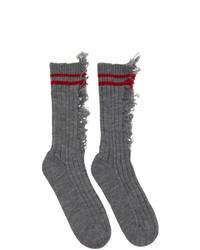 Maison Margiela Grey Destroyed Socks