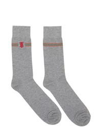 Burberry Grey Embroidered Tb Monogram Stripe Socks
