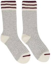 Brunello Cucinelli Grey Rib Knit Cashmere Socks