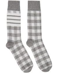 Thom Browne Grey White Gingham Jacquard 4 Bar Socks