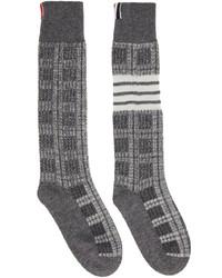 Thom Browne Grey Windowpane Check 4 Bar Socks