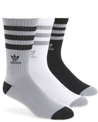 adidas Originals 3 Pack Ribbed Crew Socks