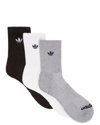 adidas Originals Three Pack Multicolor Solid Crew Socks