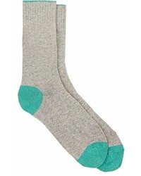 Barneys New York Tipped Cuff Stockinette Stitched Mid Calf Socks