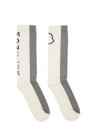 Moncler White And Grey Logo Socks