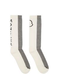 Moncler White And Grey Logo Socks
