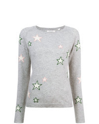 Grey Star Print Crew-neck Sweater