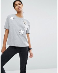 Asos T Shirt With Sequin Star Badges
