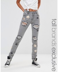 Glamorous tall distressed boyfriend jean with sequin star detail medium 1158803