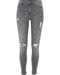Grey star print distressed molly jegging medium 1158802