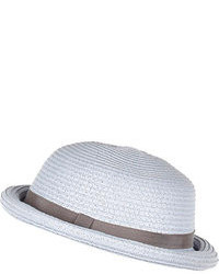 River Island Light Blue Straw Bowler Hat