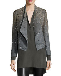 Oliver studded leather jacket gray medium 342327