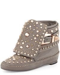 Grey Studded Leather Ankle Boots
