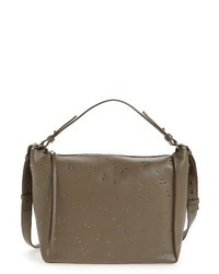 AllSaints Junai Studded Convertible Leather Crossbody Bag Grey