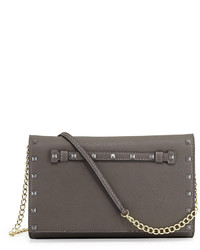 Neiman Marcus Tonal Stud Crossbody Bag Gray