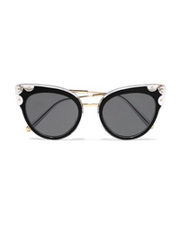 Dolce & Gabbana Cat Eye Studded Gold Tone And Acetate Sunglasses