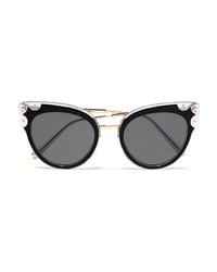 Dolce & Gabbana Cat Eye Studded Gold Tone And Acetate Sunglasses
