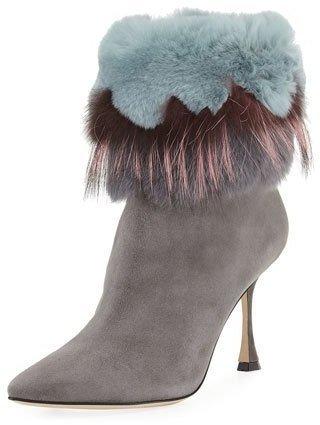 b71948feb0316 ... Grey Suede Ankle Boots Manolo Blahnik Remola 90mm Fur Trim Suede Bootie  ...