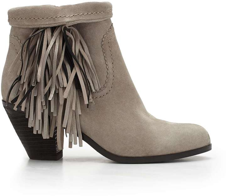 Louie Fringe Bootie. Grey Suede Ankle Boots by Sam Edelman
