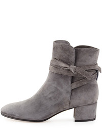 Gianvito Rossi Suede Ankle Tie Boot Dark Gray | Where to buy & how ...