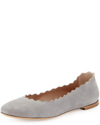 Grey Suede Ballerina Shoes