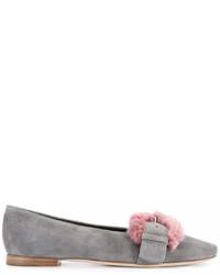 Fur buckle ballerina pumps medium 6990589
