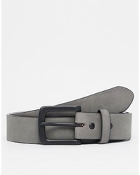 Asos Belt In Gray Faux Suede With Black Coated Buckle