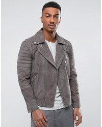 Grey Suede Biker Jacket
