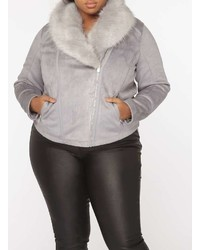 Dorothy Perkins Dp Curve Grey Suede Faux Fur Biker Jacket