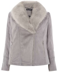 Dorothy Perkins Dp Curve Grey Suede Faux Fur Biker Jacket