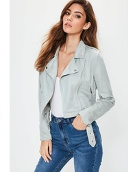 Missguided Faux Suede Biker Jacket Grey