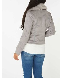 Dorothy Perkins Grey Suedette Faux Fur Collar Biker Jacket