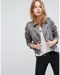 New Look Lace Up Detail Suedette Biker Jacket