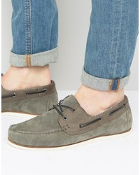 Asos Boat Shoes In Gray Suede With White Sole
