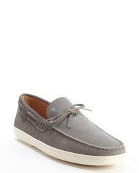 Tod's Grey Suede Moc Toe Slip On Loafers