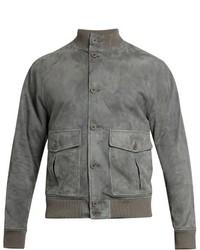 Grey Suede Bomber Jacket