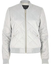 River Island Light Grey Quilted Faux Suede Bomber Jacket