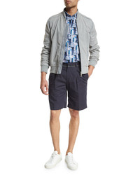 Brioni Perforated Suede Bomber Jacket Light Gray
