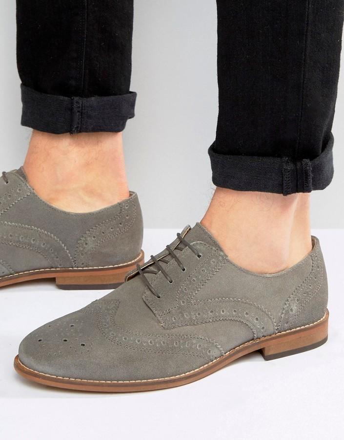 74164c717206 ... Asos Brogue Shoes In Gray Suede ...
